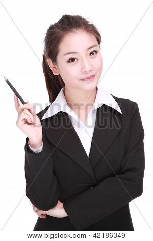 Young Businesswoman With Pen