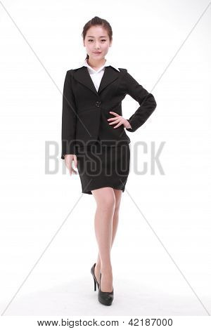 Businesswoman Standing Isolated White Background