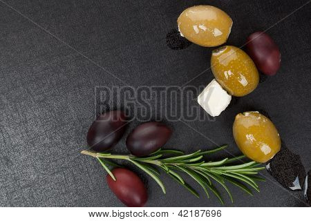 Olives Background With Copy Space.