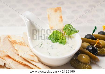 Greek Tzatziki Yogurt Dip And Pita Bread
