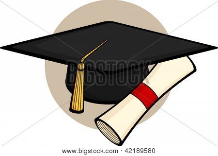 graduation hat with diploma