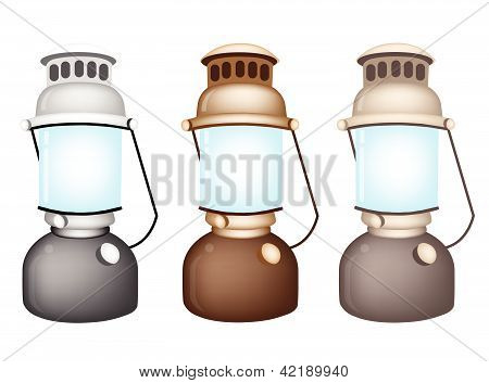 An Illustration Set Of Old Kerosene Lamp
