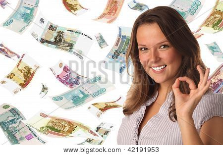 Portrait Of Smiling Girl On Roubles Background