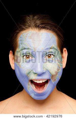 portrait of girl with world map painted on her face
