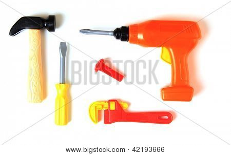 Plastic set of toy tools