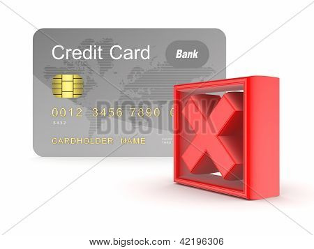 Credit card and red cross mark.