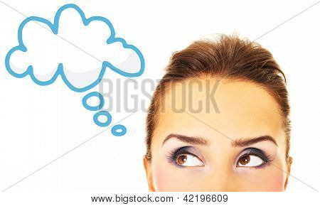 A picture of a pretty woman looking over white background and space for your text