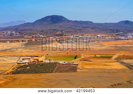 aerial view La Oliva town and La Arena volcano Fuerteventura, Canary Islands, Spain