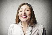 stock photo of fat lip  - beautiful fat woman smile - JPG