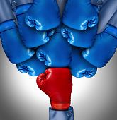 picture of gang  - Overcoming adversity and conquering challenges as a group of blue boxing gloves ganging up on a single red glove as a business symbol of difficult competition environment - JPG