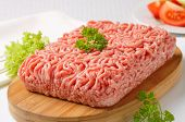 stock photo of meatloaf  - minced meat prepared for meatloaf - JPG