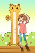 image of measuring height  - A vector illustration of a girl measuring her height with height scale on the wall - JPG