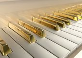 stock photo of grand piano  - the Gold Grand Piano detailed  with keys - JPG