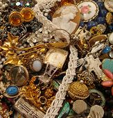 stock photo of glitz  - This is a stunning assortment of vintage and estate jewelry pieces - JPG