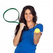 Постер, плакат: Игрок в теннис изолированные на белом фоне