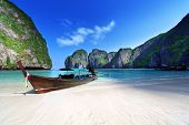 stock photo of phi phi  - Maya bay Phi Phi Leh island - JPG
