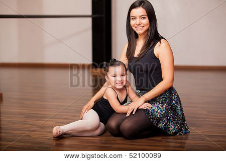Happy dance instructor and student