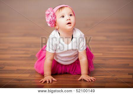 Cute girl dressed as ballerina