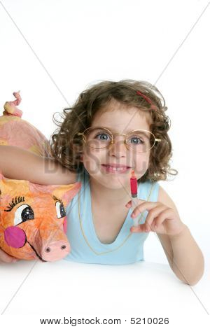 Little Girl Pretending Be Veterinary / with A Pig
