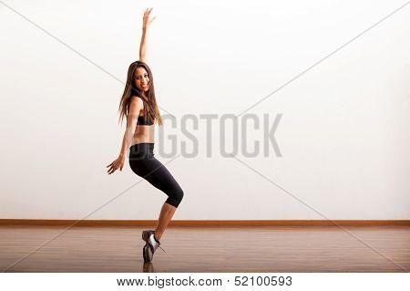 Cute tap dancer having fun