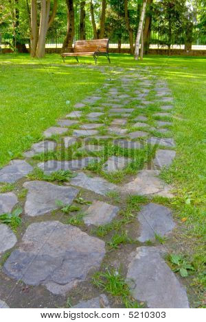 Stone Path In The Park, Going To A Bench.