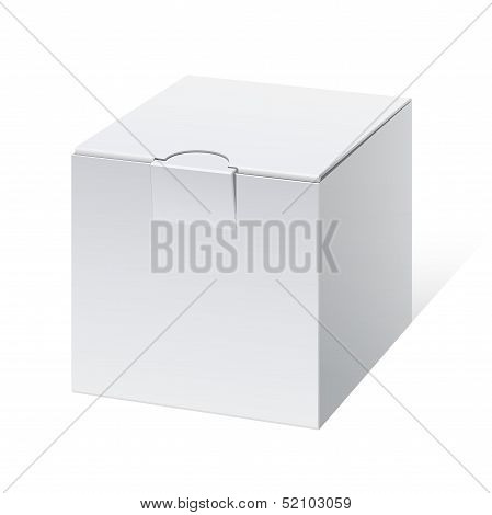 Cool Realistic White Package cube Box. For Software, electronic device and other products. Vector il
