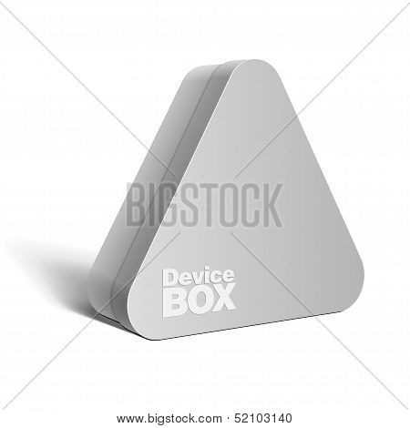 Realistic gray Package triangular shape Box. For Software, electronic device and other products.