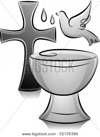 Black and White Illustration of a Dove Hovering Over a Font Placed Near a Cross
