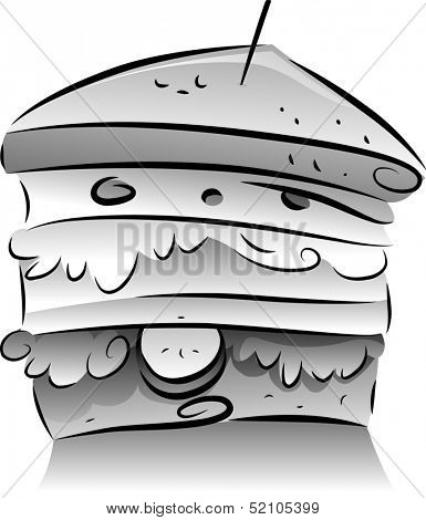 Black and White Illustration of a Clubhouse Sandwich with Fillings Sticking Out