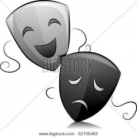 Black and White Illustration of Drama Masks Depicting Comedy and Tragedy