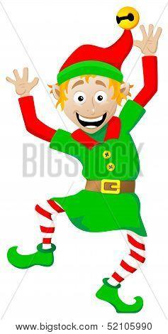 Christmas Elf On White Background