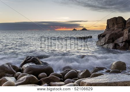 Dusk At Porth Nanven Cove