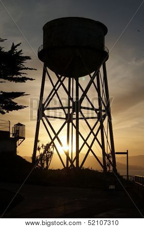 Alcatraz Water Tower Silhouette