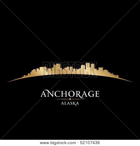 Anchorage Alaska City Skyline Silhouette Black Background