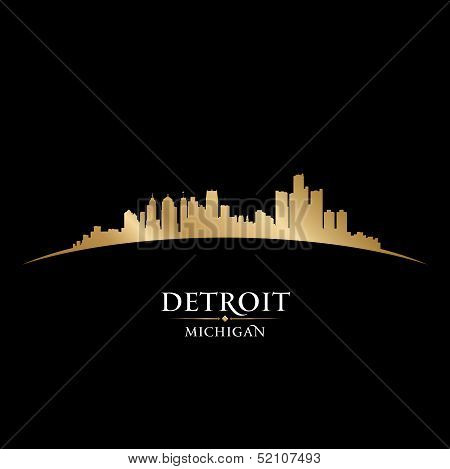 Detroit Michigan City Skyline Silhouette Black Background