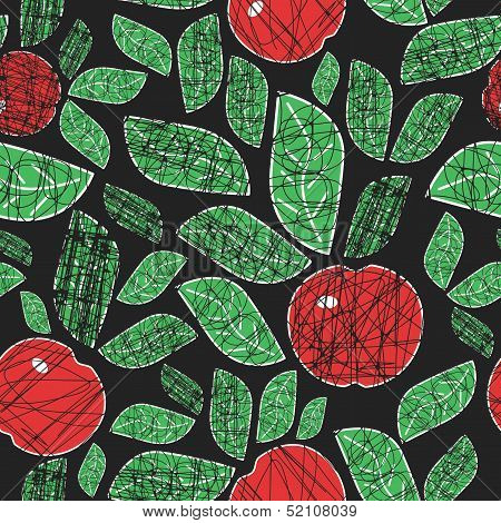 abstract seamless pattern with apples and leaves