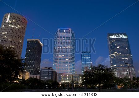 Downtown Tampa Florida USA office buildings at dusk