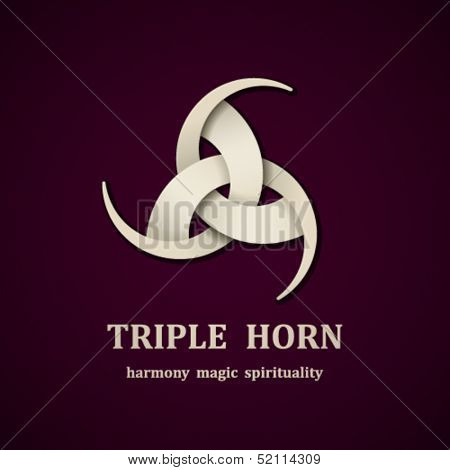vector Celtic triple horn symbol design template