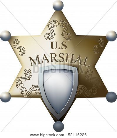 Marshal's badge with a blank space