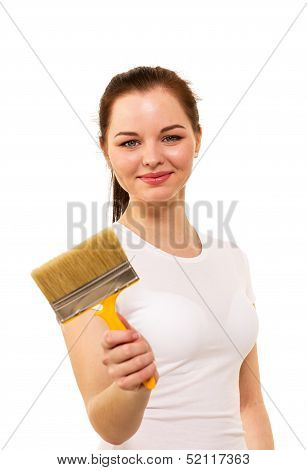 The Beautiful Girl With Brush In Hand It Is Isolated On The White