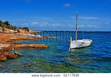 natural docks of Punta de Sa Pedrera in Formentera, Balearic Islands, Spain
