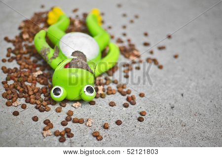 Filthy Frog Toy Surrounded By Animal Food. Forsaken Concept
