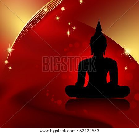 Buddha silhouette against red background with golden border