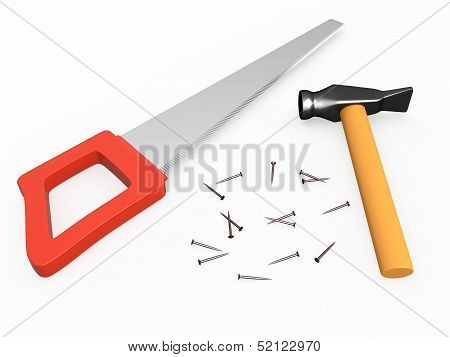 Hand saw, hammer and nails