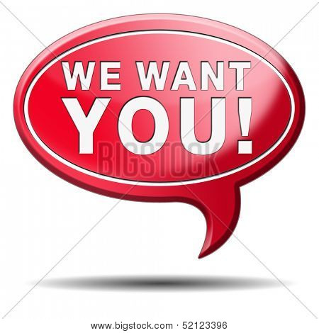 We want you. job search, find work and employment hire now. Career button or icon.