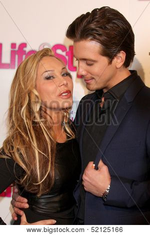 LOS ANGELES - OCT 9:  Adrienne Maloof, Jacob Busch at the Hollywood In Bright Pink at Bagatelle LA on October 9, 2013 in West Hollywood, CA