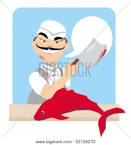 Japanese Fishmonger Butcher Chef Cook With Knife Holding Red Fish
