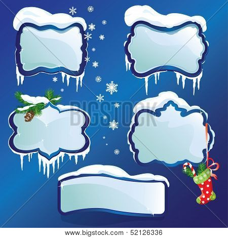 Collection Of Glossy Winter Frames With Snowdrifts And Icicles