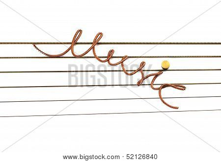 Music the inscription of a string.