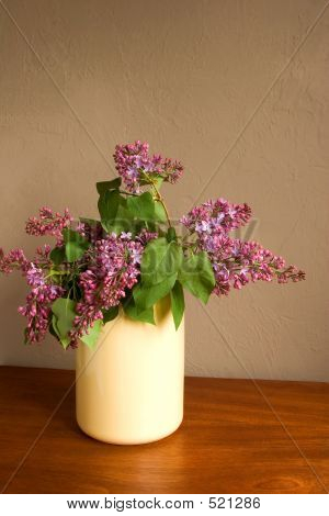 Lilacs In Yellow Vase